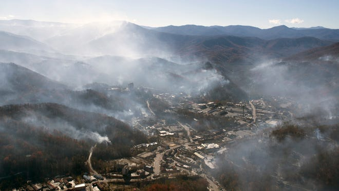 An aerial view shows Gatlinburg the day after a wildfire hit the city on Tuesday, Nov. 29, 2016, in Sevier County.