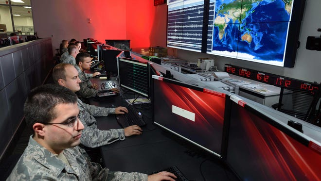 Airmen assigned to the Technical Support Squadron monitor seismic activity throughout the world from Patrick Air Force Base.