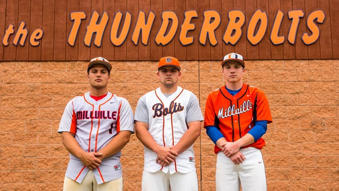 """Millville seniors Nick Grotti, Buddy Kennedy and Ryan McIssac are all wearing the Mike Trout """"1"""" jersey this season for the Thunderbolts."""
