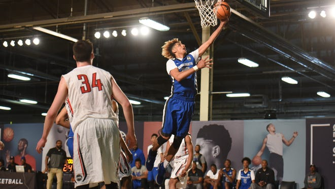 Brian Bowen, playing for the Meanstreets AAU team, gets a layup on Nike's EYBL circuit last year in Brooklyn, New York.