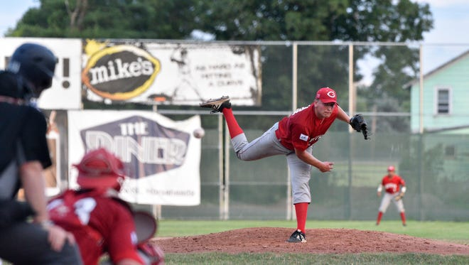 Ben Terwilliger delivers a pitch against Elmira on Friday at Dunn Field.