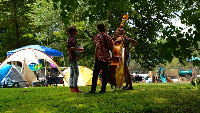 Musicians gather at Red Wing Roots Music Festival in Mount Solon's Natural Chimneys on Sunday, July 16, 2017. This is the fifth year the festival has been held.