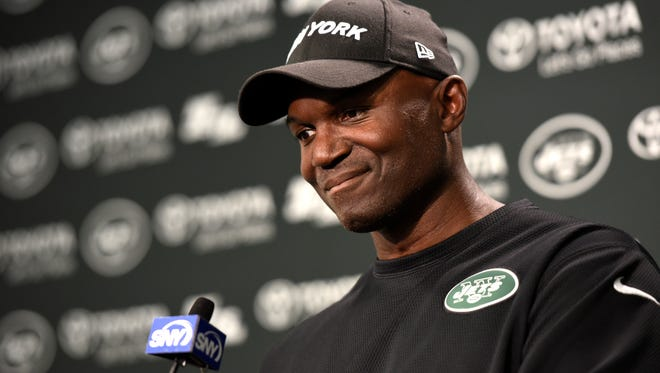 New York Jets head coach Todd Bowles speaks to the media on his decision to use the veteran Josh McCown as the starting quarterback in Florham Park, NJ on Monday, August 28, 2017.