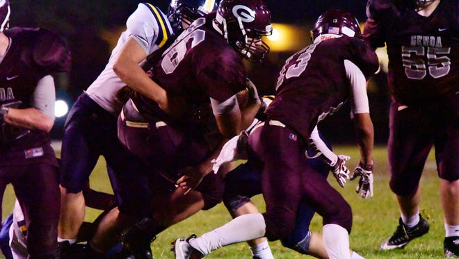 Genoa's Daniel Novotney has 32 carries this season, but he mostly helps the offense with his blocking.