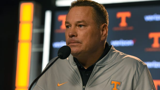 Tennessee Head Coach Butch Jones during his weekly press conference Monday, Oct. 23, 2017.
