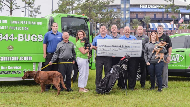 The Humane Society of St. Lucie County was the beneficiary of a $1,500 donation from Hannan Environmental Services. Pictured are, from left, David Lynch, Sean Bartlett, Sara Jones, Jamie Hannan, Rudy Benvin, Geno Drake, Chris Barkman, Dani Musgrave, Jay Brown