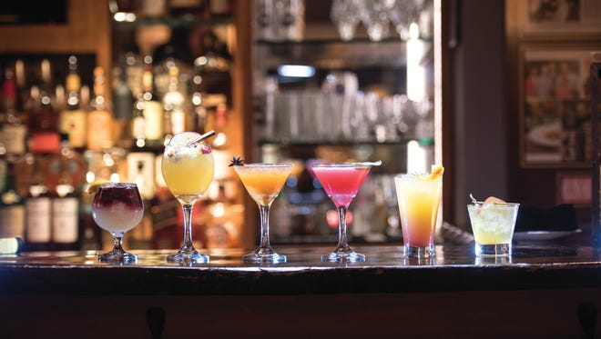 (L to R), Mayflower, Fall Sangria, The Pumpkin King, Ho-Ho-Kus Pokus, Little Darling and The Poisoned Apple provided by Caitlyn Ritz, photographed at Ho-Ho-Kus Inn & Tavern.