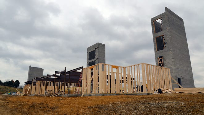 Two new hotels — Marriott Fairfield Inn and Tru by Hilton — at Staunton Crossing in the process of being built. On Tuesday, Nov. 14, 2017 a groundbreaking ceremony was held to celebrate the progress of the development. Pictured here is the Marriott.