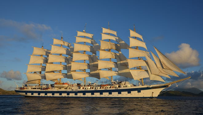 The 227-passenger Royal Clipper, operated by sailing ship line Star Clippers, is the world's largest full-rigged sailing ship.