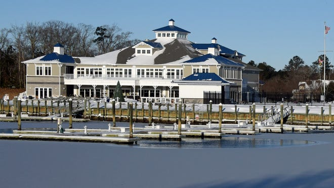 The Ocean Pines Yacht Club and the fuel dock sit empty and ice-bound after the storm.