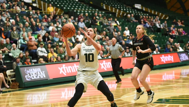 CSU's Hannah Tvrdy scored a careerr-high 28 points to help the CSU women's basketball team to cruise past San Diego State on Wednesday at Moby Arena..