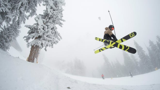 A skier takes a jump at Arizona Snowbowl near Flagstaff.