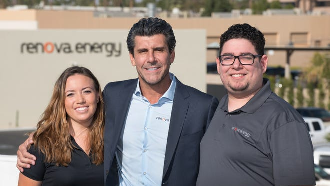 Renova Energy founder, CEO and president Vincent Battaglia (center) built his company with the help of many College of the Desert students, including Tiffany Grace (left) and Hector Rochin.