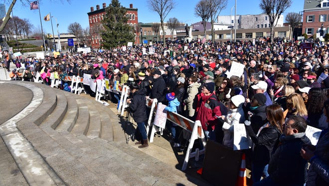 Hundreds showed up for the March for Our Lives rally in Hackensack, which students from 18 high schools covering 26 municipalities were expected to attend.