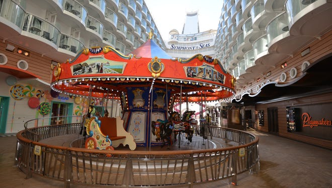 The Boardwalk on Symphony of the Seas has a traditional carousel -- a staple of the Boardwalk areas on Oasis Class ships.