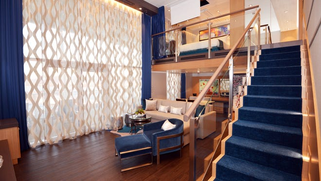 The two-deck-high Star Loft Suite on Royal Caribbean's new Symphony of the Seas