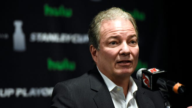 New Jersey Devils general manager Ray Shero speaks to the media during a press conference in Newark, NJ on Wednesday, April 25, 2018.