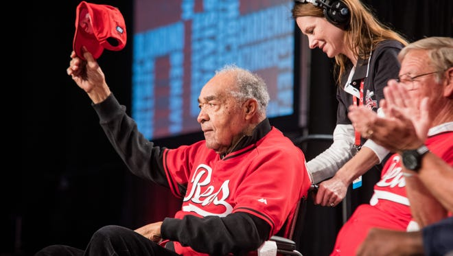 Former Cincinnati Reds player Chuck Harmon, the first African-American Reds player, makes an appearance on the main stage of Redsfest among other former and current Reds players.