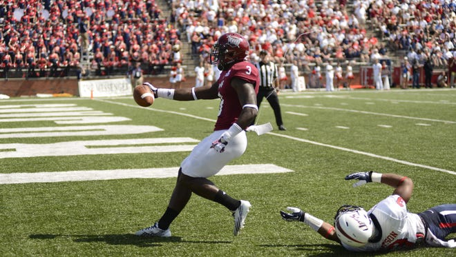 Eric Thomas, for Troy, scored one of his two touchdowns against South Alabama on Oct. 5, 2013. Thomas' other catch was the game-winner with 7 seconds left.