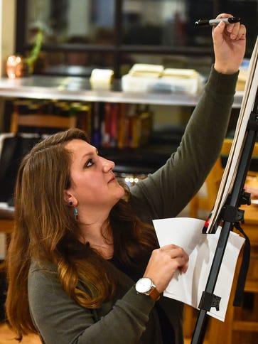 Chelsea Foster demonstrates hand-lettering strokes