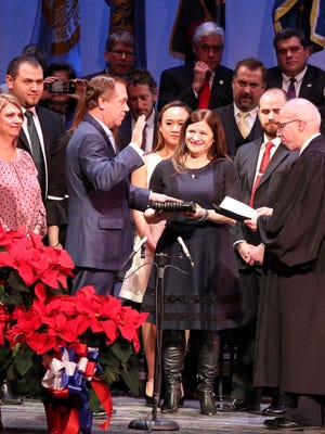 Assemblyman Craig Coughlin of Woodbridge is sworn in as Assembly speaker on Tuesday in Trenton.
