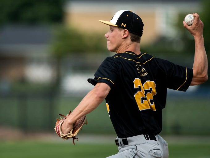 Red Lion starting pitcher C.J. Czerwinski delivers