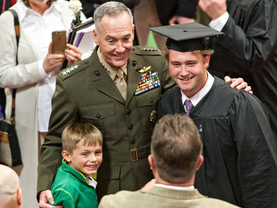Gen. Joseph Dunford, chairman of the Joint Chiefs of Staff and a 1977 St. Michael's College graduate, poses for a picture during a reception following commencement ceremonies Sunday, May 14, 2017, in Colchester. Dunford told the graduates that their leadership will be crucial in a world that faces the most challenges since World War II.