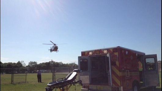 One person was airlifted to a local hospital after a crash involving a vehicle and a motorcycle in Cocoa on Wednesday afternoon, according to Brevard County Fire Rescue.
