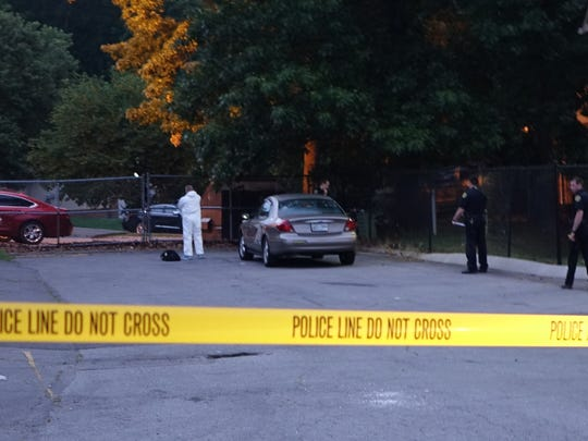 A crime scene is blocked as Clarksville police gather
