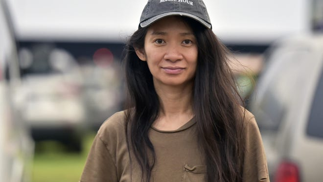 """Chloe Zhao attends the Telluride from Los Angeles drive-in screening of """"Nomadland"""" on Sept. 11 at the Rose Bowl in Pasadena, California."""