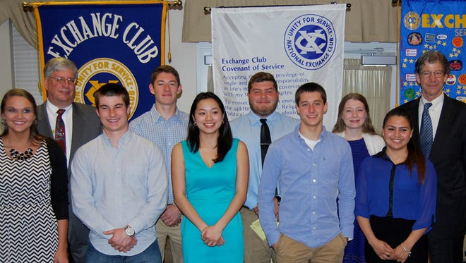 Local students receiving scholarships from The Exchange Club of Hanover, front row, from left, are: Alexandra Cassetta, South Western High School (SWHS), Pennsylvania College of Technology-Dental Hygiene; Zachery Hughes, SWHS, Alderson Broaddus University-Undeclared; Margaret Smith, SWHS, Drexel University-Graphic Design; Aaron Becker, New Oxford High School, Westminster College of PA-Broadcasting; and Nancy Diaz Fajardo, Hanover High School (HHS), Lebanon Valley College-Accounting; back row: Ed Temple, Club President and Committee Member; Benjamin Sentz, SWHS, York College-Computer Science; Scotty Dickmyer, SWHS, Lebanon Valley College-Athletic Training; Aubryanna Tayman, Delone Catholic High School, Westminster Choir College-Voice Performance; and John Crabbs. Not pictured: Madeline Hammond, HHS, Indiana University of Pennsylvania-Nursing and Eric Strausbaugh, SWHS, Shippensburg University-Environmental Science.
