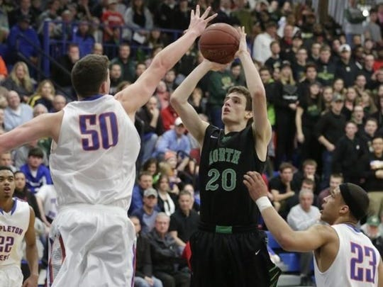 Oshkosh North's Hayden Gabrilska puts up a shot in Thursday's WIAA Division 1 sectional semifinal game.