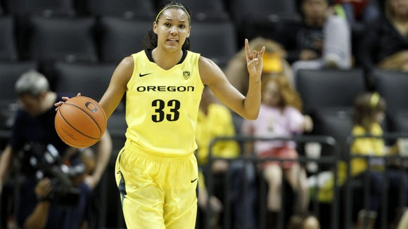 Oregon's Lexi Petersen during their game with Washington on Friday, Jan. 16, 2015, at the Matthew Knight Arena in Eugene, Ore.