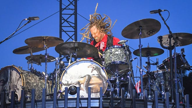 Shinedown performed early in the evening on the main stage. RockUSA wrapped up its three-day run at Ford Festival Park in Oshkosh Saturday evening, July 16, 2016.