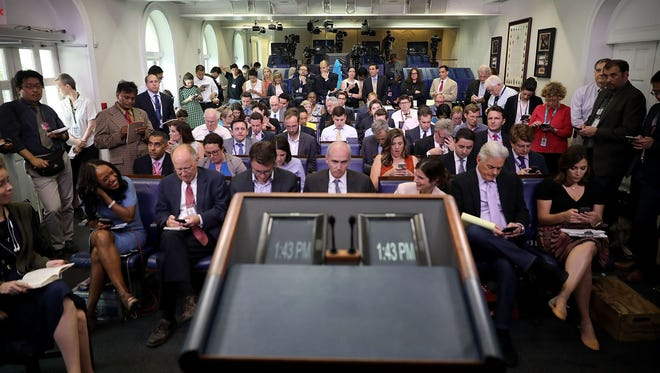 Reporters wait for the arrival of White House Press Secretary Sean Spicer in the James Brady Press Briefing Room at the White House June 23, 2017 in Washington, DC.