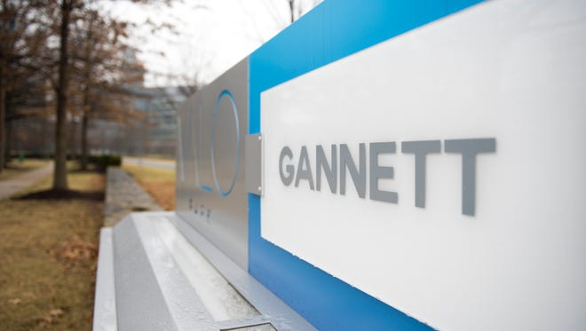 A view of the Gannett and USA TODAY signs outside the Valo Park office building in McLean, Va., where Gannett is headquartered.