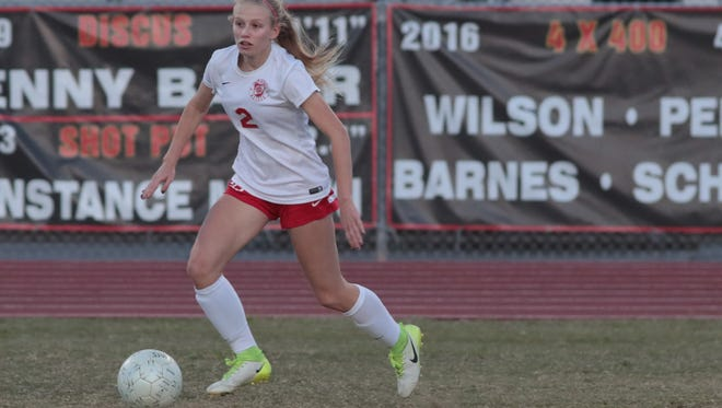 Kaitlin Clapinski dribbles the ball for Palm Desert in their second-round playoff game against Paloma Valley, Tuesday, February 20, 2018.