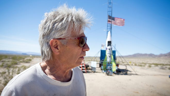 """""""Mad"""" Mike Hughes reacts March 6, 2018, after the decision to scrub another launch attempt of his rocket near Amboy."""