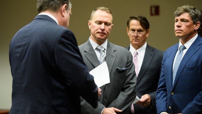Suspended Greenville County Sheriff Will Lewis pleads not guilty to charges of misconduct in office and obstruction of justice during his arraignment hearing at the Greenville County Courthouse on Thursday, April 19, 2018.