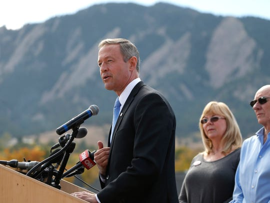 Democratic presidential candidate Martin O'Malley speaks on the campus of the University of Colorado before the Republican presidential debate Wednesday, Oct. 28, 2015, in Boulder, Colo.