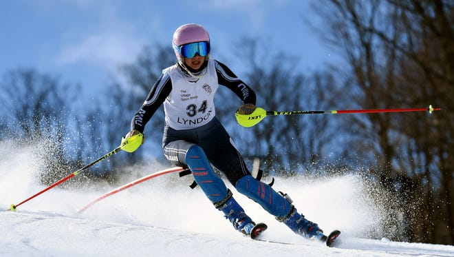 MMU's Sadie Firman competes in slalom on the second day of the Vermont state alpine championship at Burke Mountain on Tuesday, March 6, 2018.
