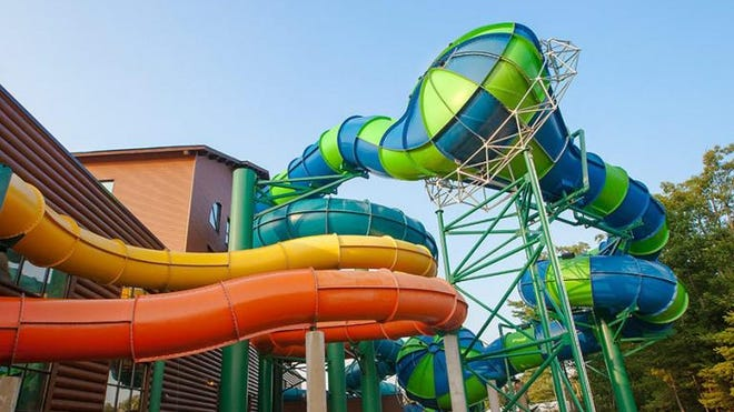 Great Wolf Lodge's waterpark is opening June 19. Pictured is the popular Double Barrell Drop water slide.