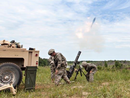 Vermont Army National Guard soldiers fire a mortar on a range at Fort Drum, N.Y., during an exercise Thursday, June 15, 2017. Some 2,000 soldiers are taking part in the annual two-week training at the sprawling military base in upstate New York, north of Syracuse.