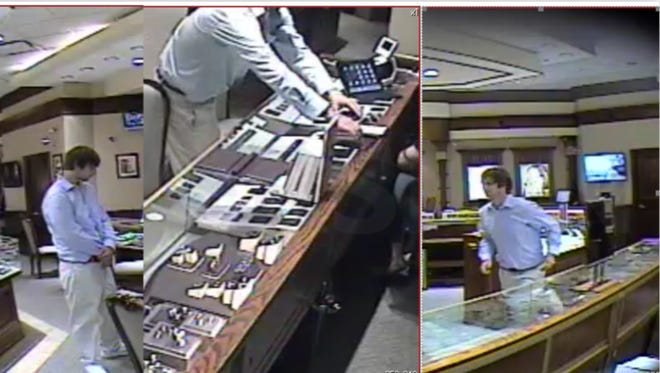 Police seek a suspect who they say stole diamonds from a jewelry store.