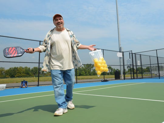 Record columnist Bill Ervolino tries his hand at Pickleball at Overpeck County Park in Leonia.