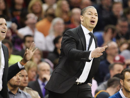 Cleveland Cavaliers head coach Tyronn Lue yells to a referee during the second half against the Atlanta Hawks at Quicken Loans Arena. The Hawks won 114-100.