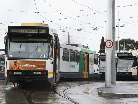 MELBOURNE, AUSTRALIA - AUGUST 27: Trams are seen parked at the Essendon Tram Depot on August 27, 2015 in Melbourne, Australia. The strike is due to a pay dispute between drivers and employer Yarra Trams. This is the first tram strike in Melbourne since 1997. (Photo by Robert Cianflone/Getty Images)