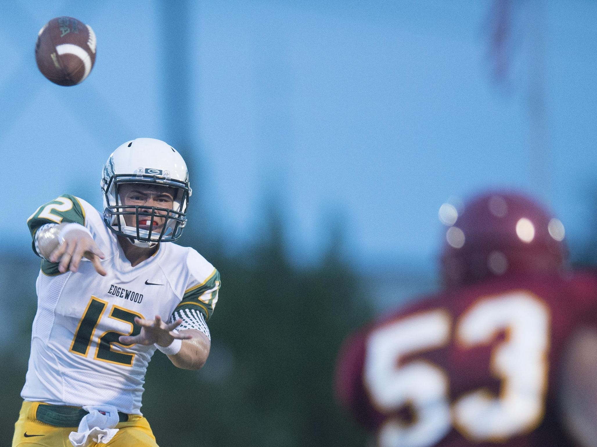 Nathan Rourke, shown in Edgewood's season opener on Aug. 20, threw for 297 yards and five touchdowns in the Wildcats' 67-0 win at Evangel Christian on Friday.