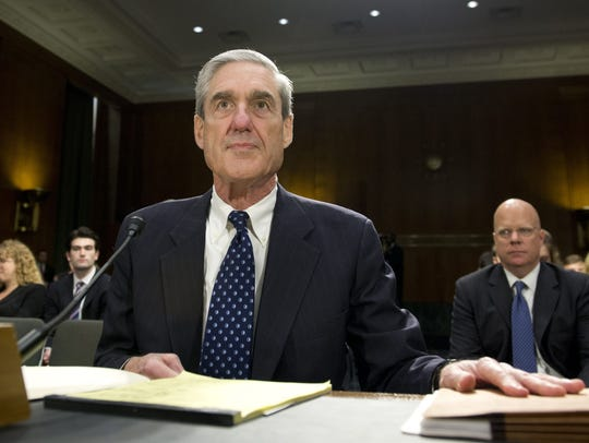 Then FBI Director Robert Mueller arrives to testify