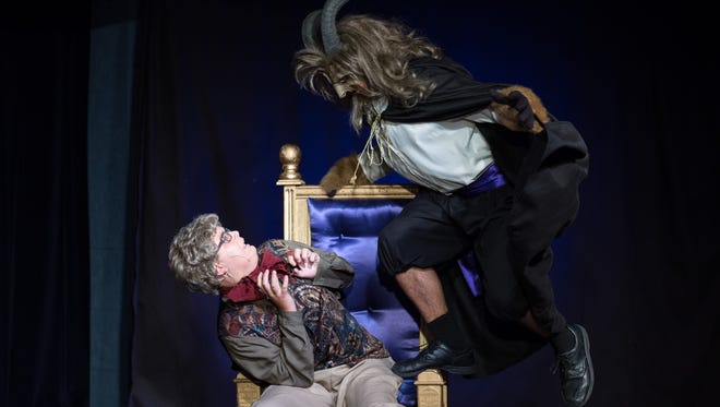 The Maurice played by Logan Dill, and The Beast, played by Brice Leidy perform in Stewartstown United Methodist Church's summer theater performance of Disney's Beauty and the Beast.
